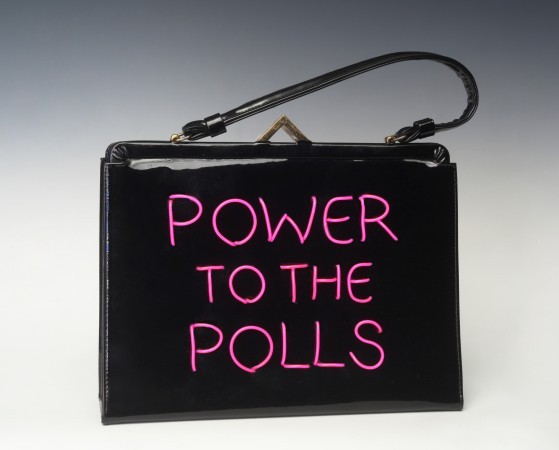 Power of the Purse: Power to the Polls, 2018, vintage purse with electroluminescent wire, 14 x 12 x 3 inches
