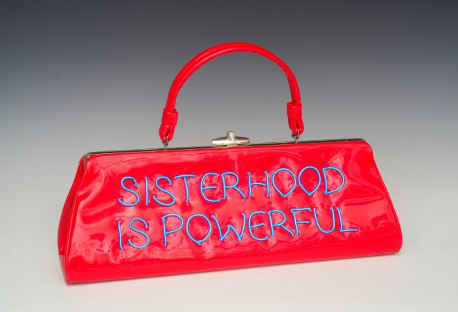 Power of the Purse: Sisterhood Is Powerful, 2018, vintage purse with electroluminescent wire, 10 x 15 x 4 inches