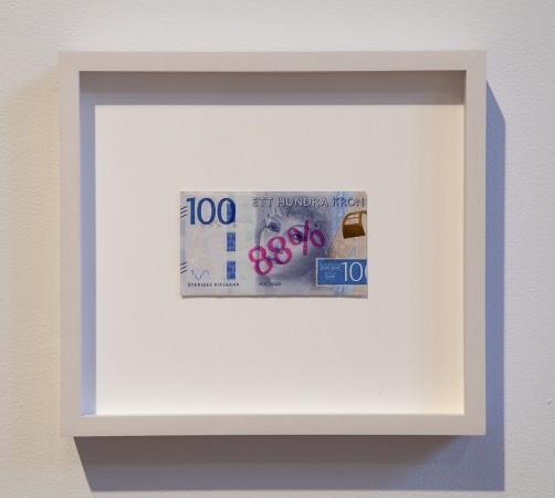 Swedish Wage Gap, 2018, Swedish krona and ink, 9.5 x 8.5 inches