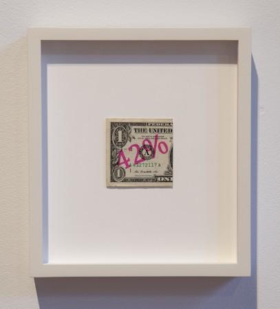 Female Artist Wage Gap, 2018, Dollar Bills and ink, 9.5 x 8.5 inches