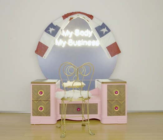 My Body My Business (Vanity), 2016, Wood, neon and acrylic, metal, 65 x 52 x 18 inches