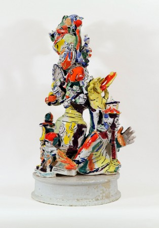 Viola Frey, Western Civilization: Urn, Hand with Monkey and Figurines, 1999, ceramic, 44 x 23 x 20 inches