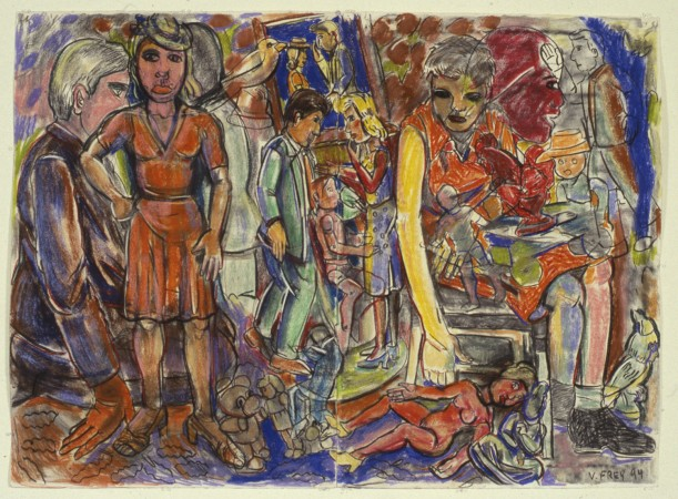 Viola Frey, The Discussion II, 1994, pastel on paper, 44 X 60 inches