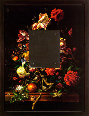 David Bierk, Still Life with Steel, to van Aelst, 1999, oil on plaster on board, steel, 52 .5 x 40.5 inches