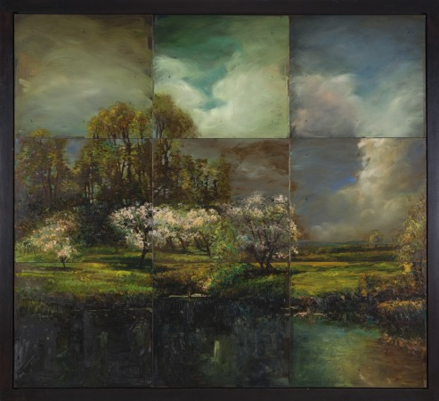 David Bierk, A Distant Light, from John Appleton Brown, Trees in Blossom #2, 1993, oil on steel, 59 x 65 inches