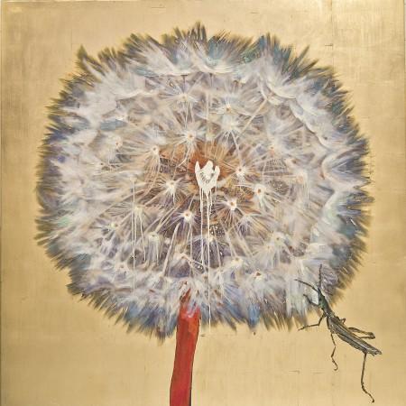 Hung Liu, Dandelion - Grasshopper, 2017, mixed media, 60 x 60 inches
