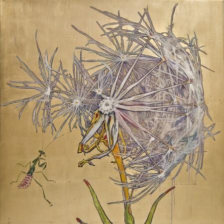 Hung Liu, Dandelion - Praying Mantis, 2017, mixed media, 60 x 60 inches