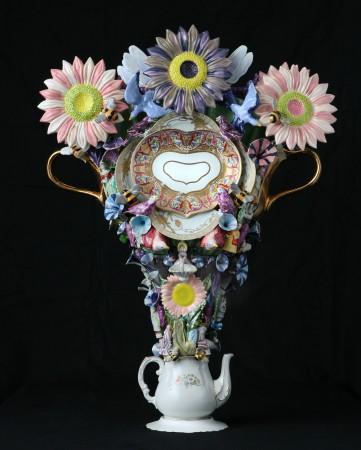Joan Bankemper, Itinerant Players, 2018, ceramic, 36.5 x 27.5 x 12 inches