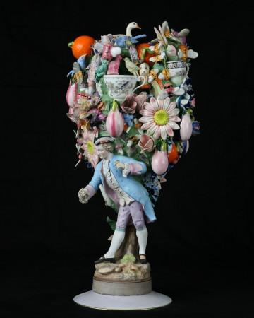Joan Bankemper, The Love of Three Oranges, 2018, ceramic, 29 x 16 x 12 inches