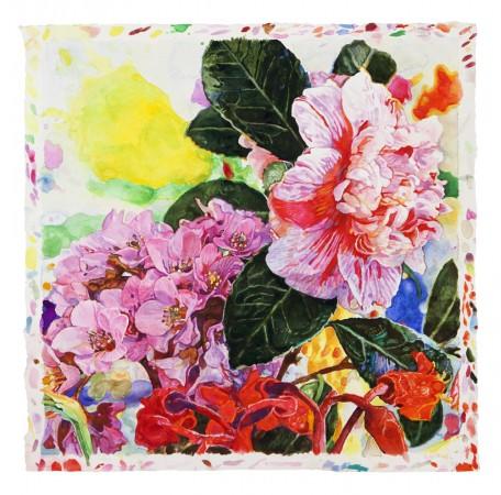 Joseph Raffael, Oddon , Joy, Winter's End, 2018, watercolor on paper, 20.5 x 20 inches