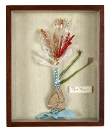 Katerina Lanfranco, Flora Flamma (Flame Flower), 2013, mixed media and flameworked glass, 10.5 x 8.5 inches