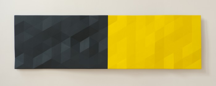 Upper Merced River / Grand 2 (bluegreen & yellow), 2018, oil on wood, 28 x 98 x 4.5 inches
