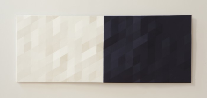 Merced River / 2 (blue & white), 2015-2016, oil on wood, 25.5 x 66 x 2 inches