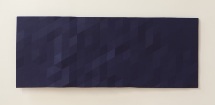 Merced / 1 (dark blue), 2014, oil on wood, 25.5 x 66 x 3 inches