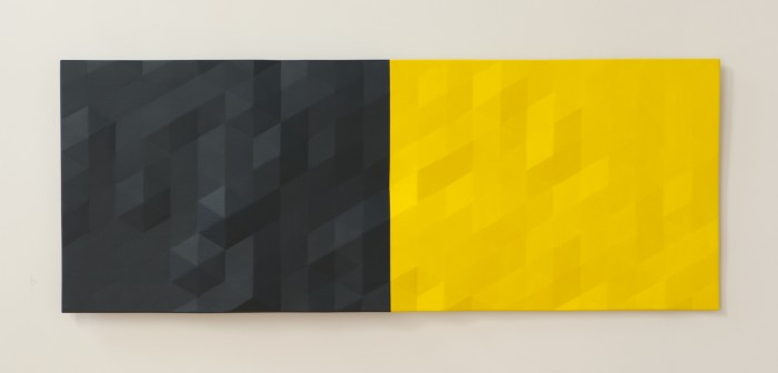 Upper Merced River / 3 (bluegreen & yellow), 2015-2018, oil on wood, 25.5 x 66 x 2.5 inches