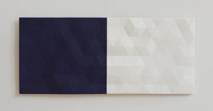 Merced River / 1 (blue & white), 2012-2017, oil on wood, 22 x 50.5 x 2 inches