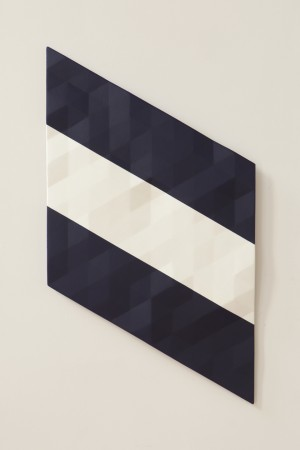 Upper Merced River / 5 (blue & white & blue), 2015-2018, oil on wood, 27.5 x 46 x 3 inches