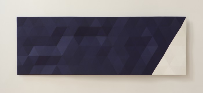 Upper Merced River/ Slant/2 (blue & white), 2018, oil on wood, 29 x 86 x 4.5 inches