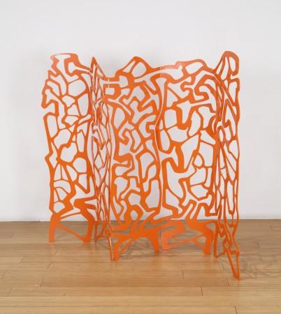 #tangerineharlequin, 2018, enameled steel, 45 x 48 x 12 inches
