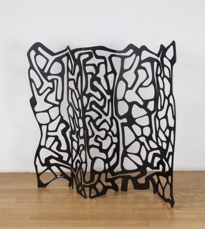 #spilledink1, 2018, enameled steel, 48 x 48 x 11 inches