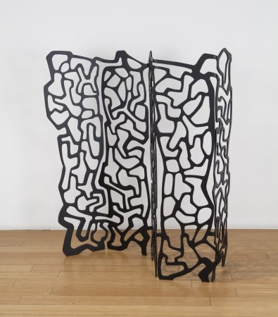 #spilledink2, 2018, enameled steel, 48.5 x 42 x 12 inches