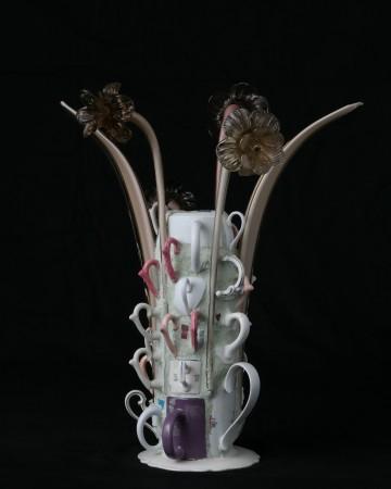 Daisy with teacups , 2017, ceramic, 21.5 x 18 x 18 inches