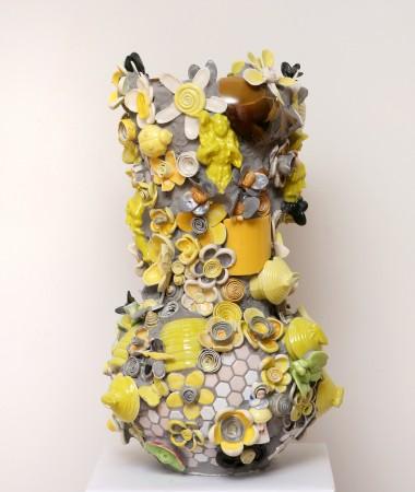 Yellow Plucked Daisy, 2017, ceramic, 22 x 13 x 13 inches