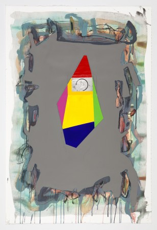 untitled (to Walter Gabrielson), 2014, mixed media on paper, 45 x 30 inches