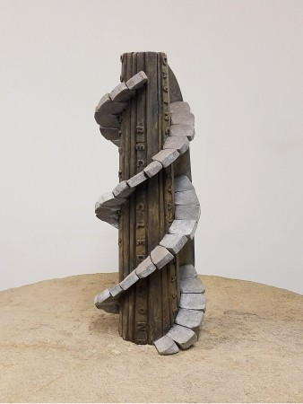 DNA Tower, 2014, Bronze and brass, 57.5 x 45 x 44.5 inches