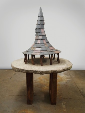 The Watershed, 2017, Stone and steel, 72.5 x 44.5 x 44.5 inches