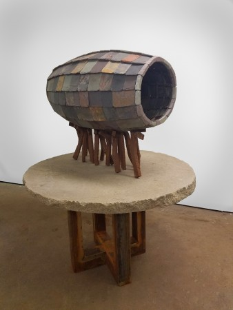 The Contract (After Cyrus Cylinder), 2017, Stone and steel, 62.5 x 48 x 48 inches