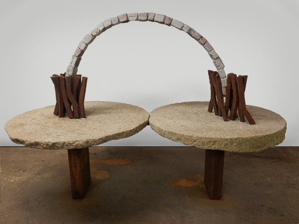 The Arc of the Moral Universe, 2016, Stone and steel, 60 x 88 x 45 inches