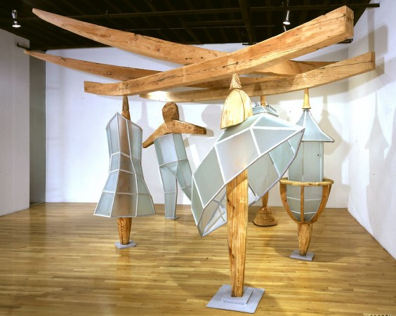 Skirts and Pants, 2000, glass and wood, 20 x 20 x 10 feet