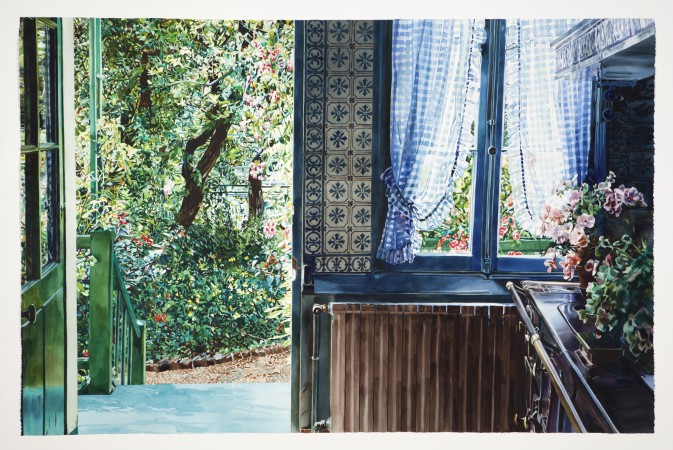 Carolyn Brady, Chauffage Centrale/ Giverny, 1990, watercolor on paper, 44 x 68 inches