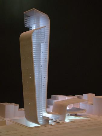 Hariri & Hariri, EMBRACING TOWERS- MUSEUM OF THE 21ST CENTURY, 2003, Bass Wood, Plexiglass, 21.5 x 32 x 27 inches