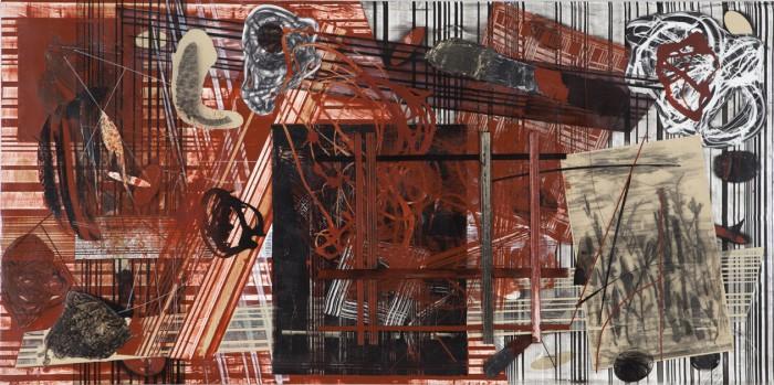 Frank Owen, Mid Leap, 2012, acrylic on canvas, 30 x 60 inches