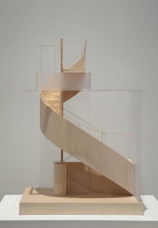 Hariri & Hariri, MOBIUS STRIP HYBRID STAIR, 1988, Bass wood & Plexiglass, 28 x 20 x 12 inches
