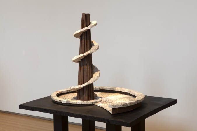 Ilan Averbuch, The Tower and the Snail (small), 2014, Steel and stone, 31 x 44 x 36 inches