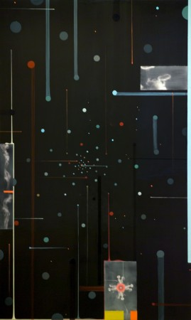 Linda Mieko Allen, Fraction X (Center of Gravity), 2004, mixed media on wood panel, 70 x 42 inches