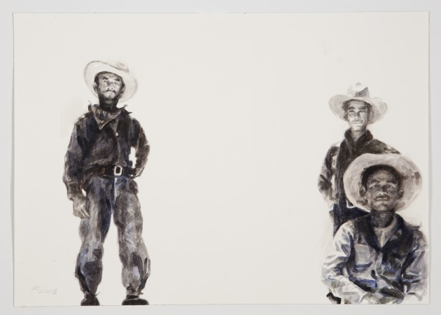 Melon Field Workers, 2016, watercolor on paper, 14 x 20 inches