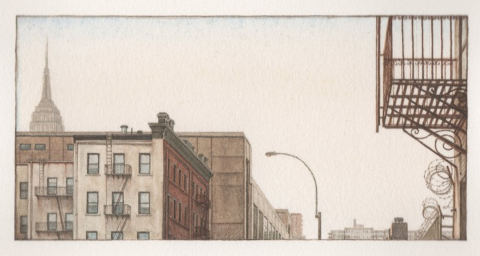 Gregory Halili, Noon at Chelsea, 2009, watercolor on paper, 9 x 12 inches