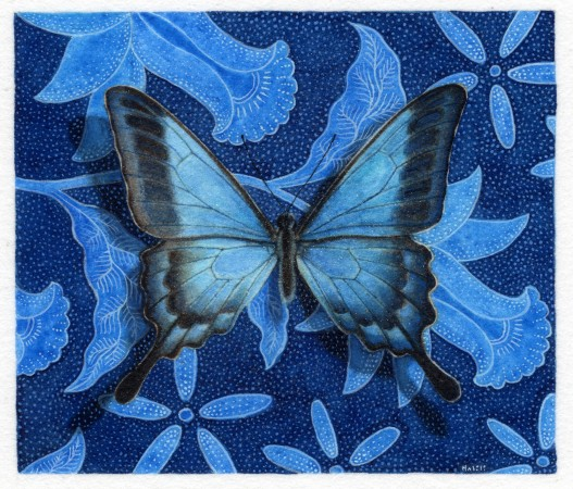 Gregory Halili, Celebration in Blue III, 2012, watercolor on paper, 2 x 1.5 inches