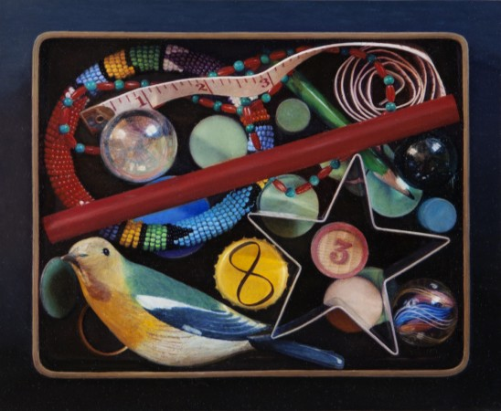 Lucy Mackenzie, Box of Coloured Objects, 2010, oil on board, 4 x 4 inches