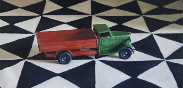 Lucy Mackenzie, Toy Truck on a Printed Cloth, 2012, oil on board, 3 x 6 inches