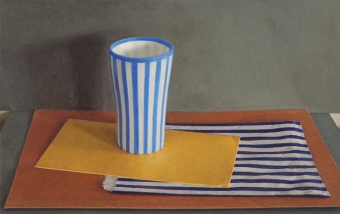 Lucy Mackenzie, Striped Cup and Paper Bag, 2012, oil on board, 3 x 5 inches