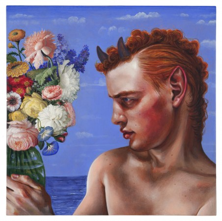 Timothy Cummings, The Faun Who Fell in Love with a Bouquet, 2016, acrylic on panel, 12 x 12 inches