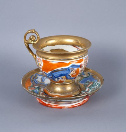 Viola Frey, Untitled (Cup and Saucer) A la Manufacture de Sevres Series, 1986, ceramic, 5.5 x 6 x 6 inches