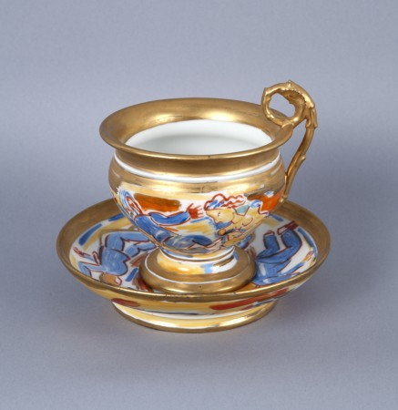 Viola Frey, Untitled (Cup and Saucer) A la Manufacture de Sevres Series, 1986, ceramic, 4 x 6 x 6 inches