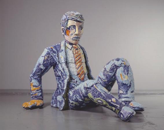 Falling Man In Suit, 1991, Ceramic, 76 x 89 x 73 inches