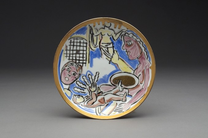 Untitled (Small Plate with Female Figure Holding Venus #2) A La Manufacture de Sevres Series, 1988, ceramic, 1 x 6 x 6 inches
